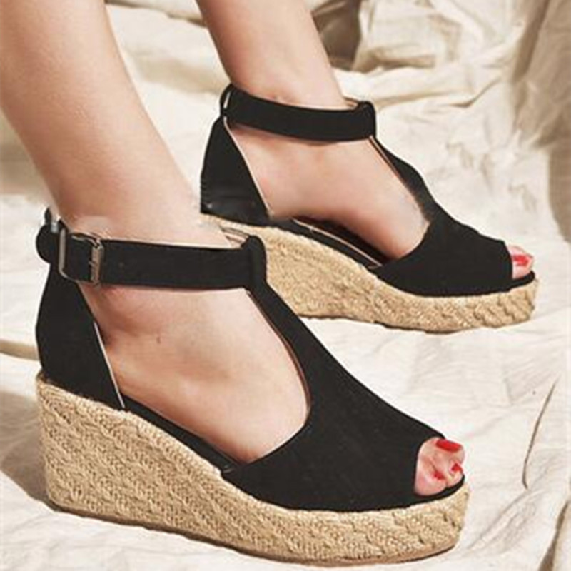 Shoes Woman Buckle Wedges Sandals Summer Open-Toe High-Heels Fish-Mouth Fashion Beach