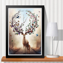 Magic Elk Diamond Painting Cross Stitch Wall 5D DIY Handmade Round Full By Numbers