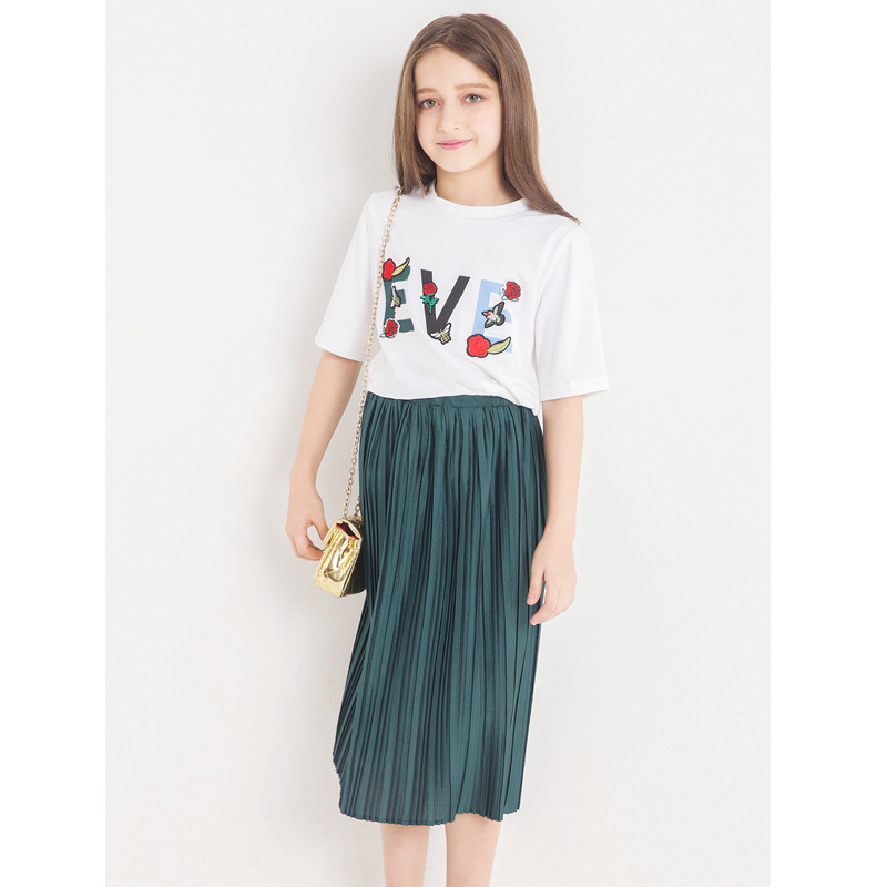 Teen Girls Clothing Sets 2018 Fashion Summer kids Set Letters T-shirt+Long Pleated Skirt 2Pcs Children Clothes 6 8 10 12 14 year teenage girls clothing sets for teens girl children summer half sleeves t shirts skirt pants 11 12 13 14 kids clothes 2pcs sets