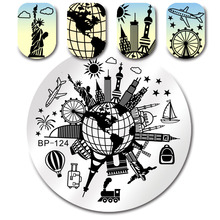 BORN PRETTY Round Stamping Plate 5.5cm Globe Scenic Spot Heart Dream Cat