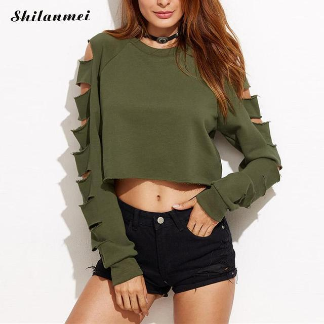 Crop top manches longues déchiré t-shirt armée vert licorne harajuku femmes  t-shirt 3845e8ce6507