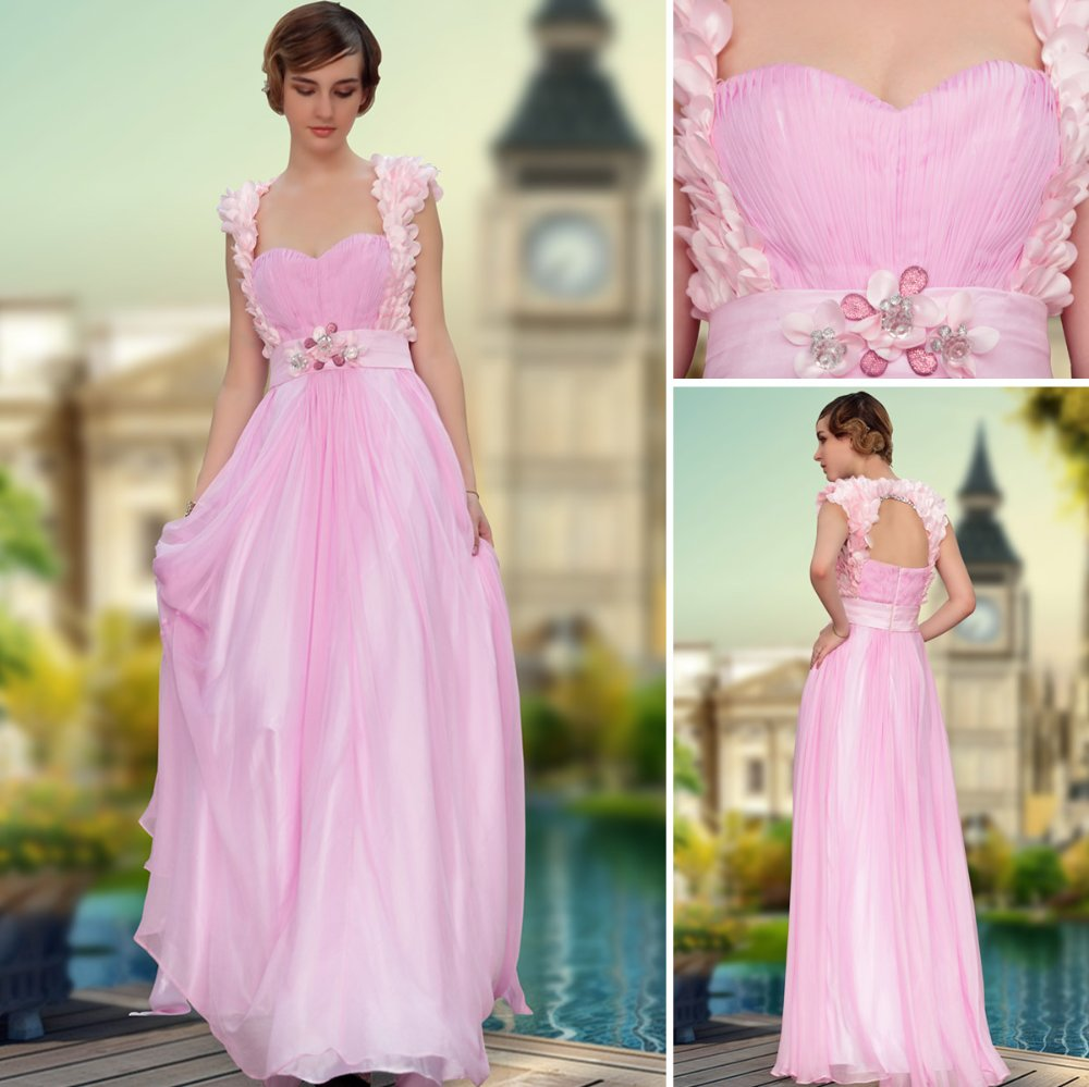 Free Shipping Dorisqueen 30630 Chiffon Pink Wedding Party Prom Gowns Dress 2017 Fashion Long Formal Evening Gown Dresses Flowers In From