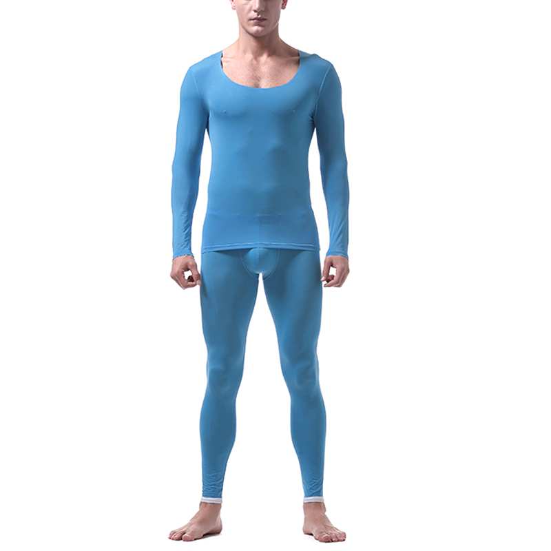 Men Ultrathin Seamless Underwear Suit Tops With Pants Round Neck Long Sleeves Clothing Set XRQ88