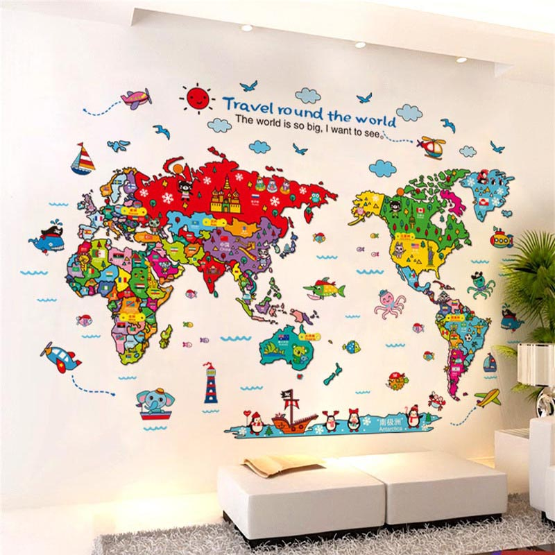 Cartoon World Travel Map Wall Sticker Pvc Material Diy Wall Decals For Living Room Sofa Background