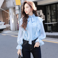 original 2017 brand blouse autumn winter new temperament romantic flare sleeve long sleeve bow vintage shirt woman wholesale