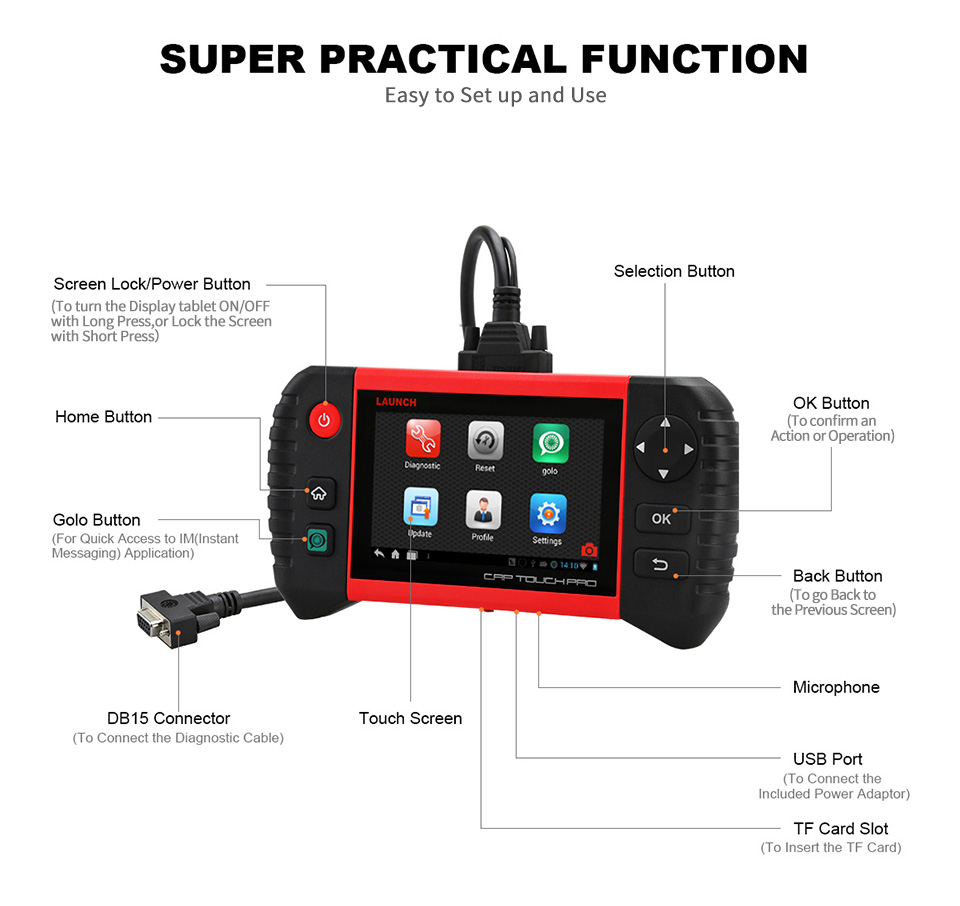 Image 2 - LAUNCH Creader CRP Touch Pro Full OBDII All System Scanner WiFi Diagnostic Scan Tool SAS EPB BMS DPF Oil reset Automotive Tool