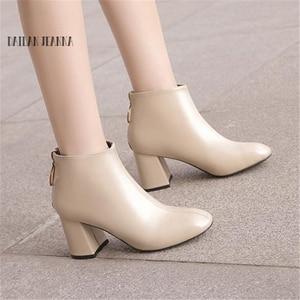 Image 2 - 2018 קוריאני גרסה של ניו נשים של מגפיים, את חזרה רוכסנים עם עבה עקבים קצר מגפיים קצר מגפי ואת גאות של מגפיים חשופים