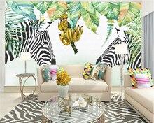 Beibehang 3dCustom Aesthetic Art Hand Painted Leaves Zebra Scandinavian Wallpaper