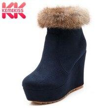 eb67ebc493 KemeKiss mujer botas de tacón alto plataforma cuñas de piel mujeres botas  maduras adornado mujer botas cortas señoras calzado ta.
