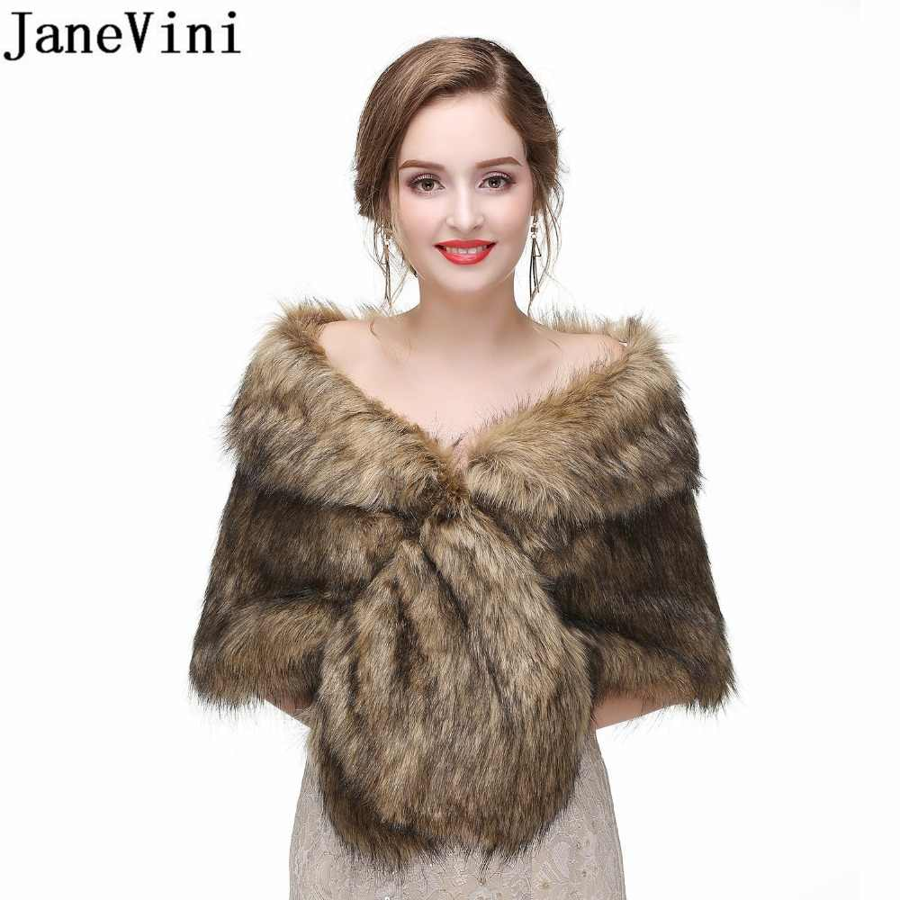 JaneVini Elegant Women Winter Wraps Faux Fur Wrap Bridal Shawls Boleros For Wedding Evening Party Fox Fur Capes Stoles Jacket