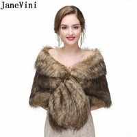 JaneVini Elegant Women Shoulder Wraps Faux Fur Wrap Bridal Winter Bolero For Wedding Evening Party Fox Fur Capes Shawls Jacket