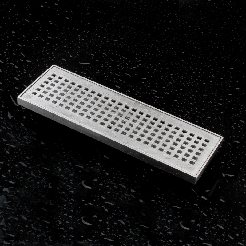 ФОТО High quality 304 solid stainless steel 300 x 100mm square anti-odor floor drain bathroom invisible shower floor drain