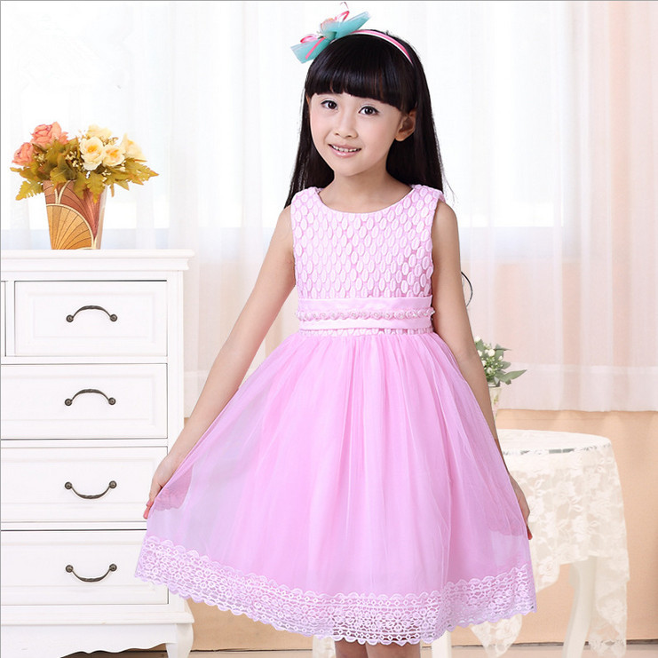 2016 summer style dresses girl sleeveless tank princess dress kids clothes Stage Performance children clothing gril flower dress multi storey white clothes stage girl performance children show clothes for dance with a pair of glove