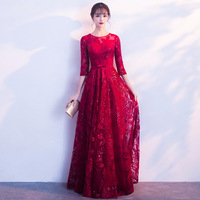 Plus Size XXXL Red Chinese Women Bride Wedding Dress Sexy Flower Three Quarter Sleeve Cheongsam Elegant Slim Improved Qipao