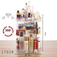 360degree Rotating Acrylic Makeup Organizer Box Brush Holder Jewelry Organizer Case Drawer Cosmetic Lipstick Desktop Storage Box