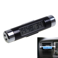 2 in 1 Blue Backlight Car Digital LCD Clock Thermometer