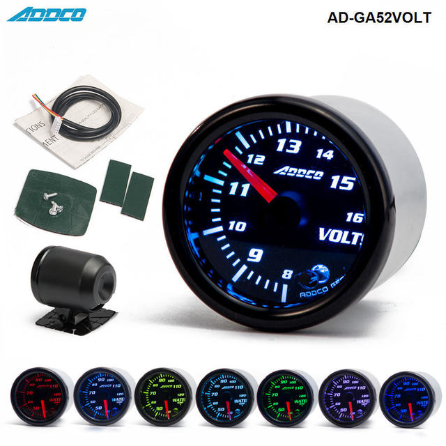"Car Auto 12V 52mm/2"" 7 Colors Universal Voltmeter Volt Gauge LED With Sensor and Holder AD GA52VOLT"