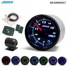 """Voltmètre universel, jauge de voltmètre LED, avec capteur et support AD GA52VOLT, pour voiture, 12V, 52mm/2 """"7 couleurs"""