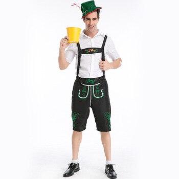 цена Hot  Mens Lederhosen Bavarian Octoberfest German Festival Beer Costume Adult Oktoberfest Beer men Costume for Halloween Party онлайн в 2017 году