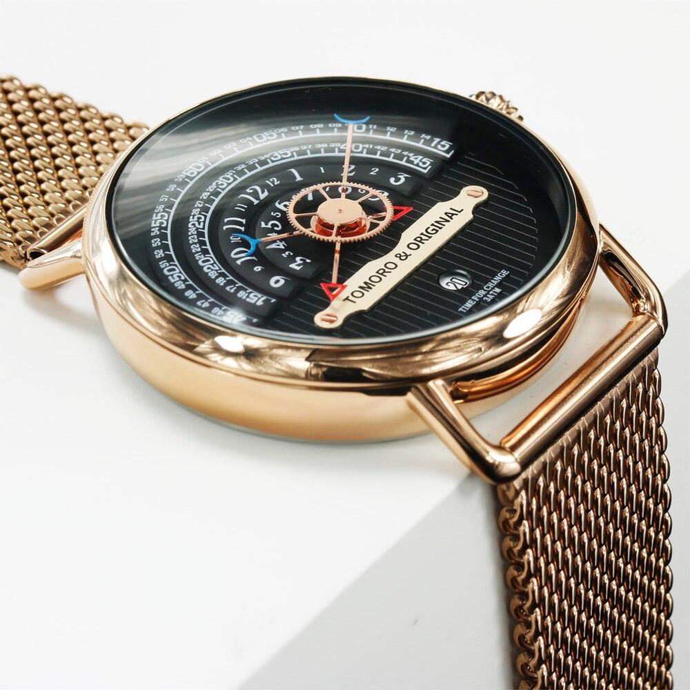 Lendemo 2018 créatif homme XFCS or Rose maille sangle marque de luxe hommes mode sport Quartz horloge Geek Style gratuit montres-in Montres à quartz from Montres    3