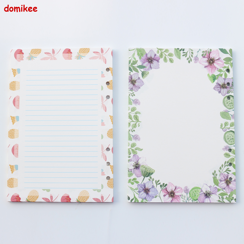 Cute Cartoon Flower School Student Notebook Filler Paper Core Stationery,candy 6 Holes Replacement Inner Paper Core,A5A6