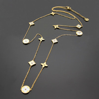 Titanium steel Foreign trade charm white Shell Necklace clover long sweater chain necklace 11 flowers Long Necklace for women