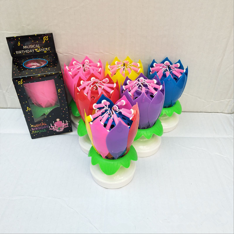 Lotus with double Flower rotating disk Birthdays Cake Decoration Supplies DIY 14 Candles Lamp Brief Musical Accessories