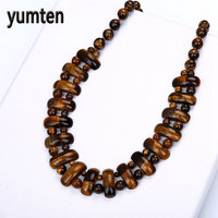 Yumten Brand Nature Tiger S Eye Big Necklace For Women Classic Exquisite Crystal Handmade Best Gift