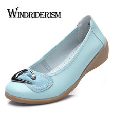 WINDRIDERISM Women Flats High Quality Women Loafers Shoes Genuine Leather Flat Shoes Crystal Leather Shoes Slip On Nurse Shoes