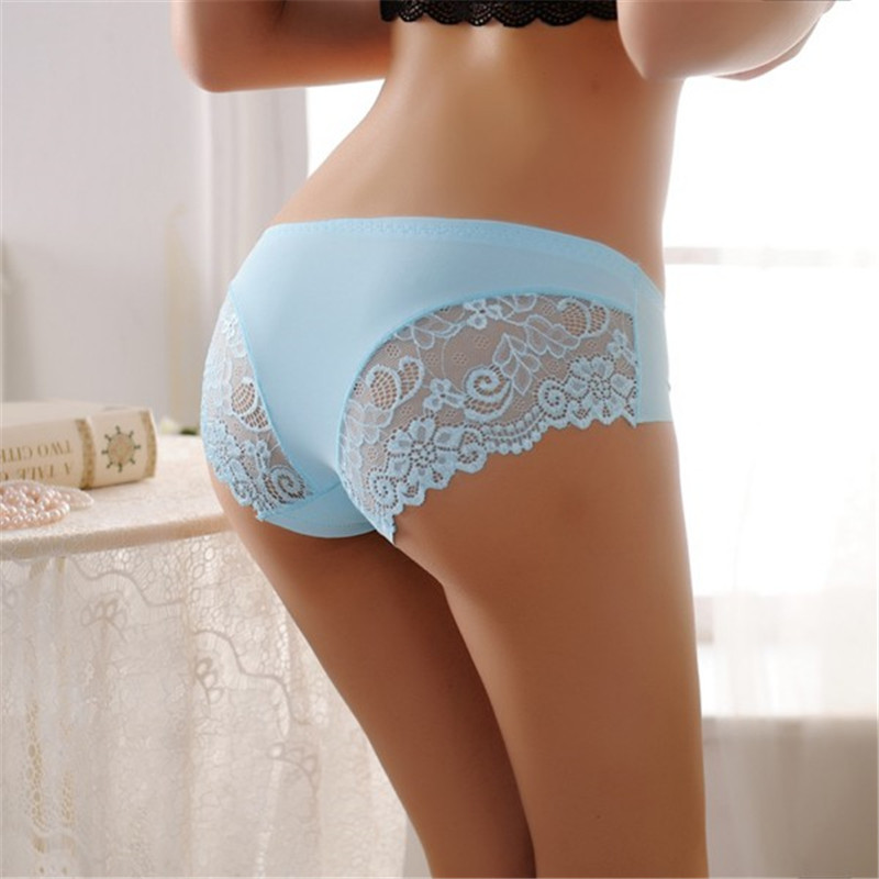 Sexy Women Lace Solid Briefs Low Waist Lingerie Seamless ...