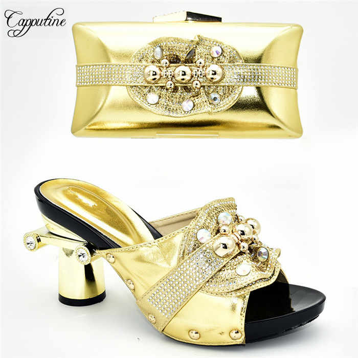 Pesta Yang Menakjubkan Set Hitam Sepatu Sandal dan Tas Set dengan Rhinestones untuk Fashion Wanita 388-4, tinggi Hak 9 Cm