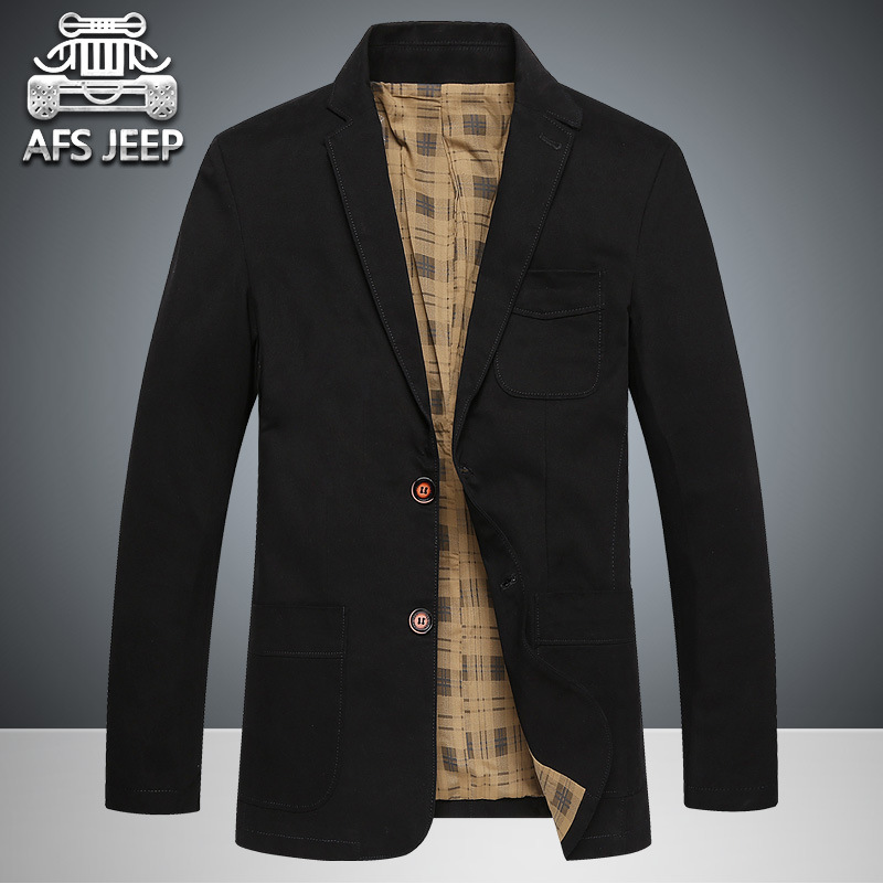 AFS JEP 2017 Top Spring Men's Causal Business Blazer Man Single-breasted Cotton Slim Suit Jacket Plus Size 4XL