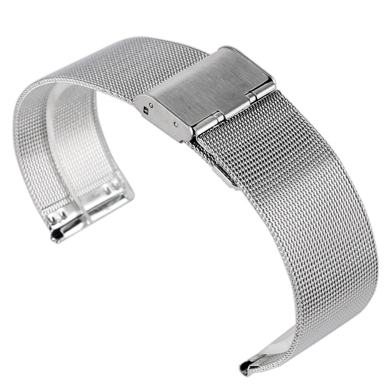 купить 20/22mm Silver Stainless Steel Mesh Hook Buckle Wrist Band Watch Strap Solid Link Bracelet Men Replacement + 2 Spring Bars недорого