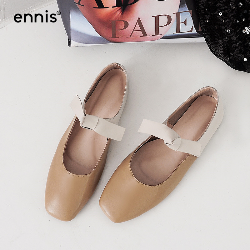 ENNIS 2019 Women Outdoor Casuals Shoes Genuine Leather Flat Loafers Mary Jane Shoes Black Brown Knot