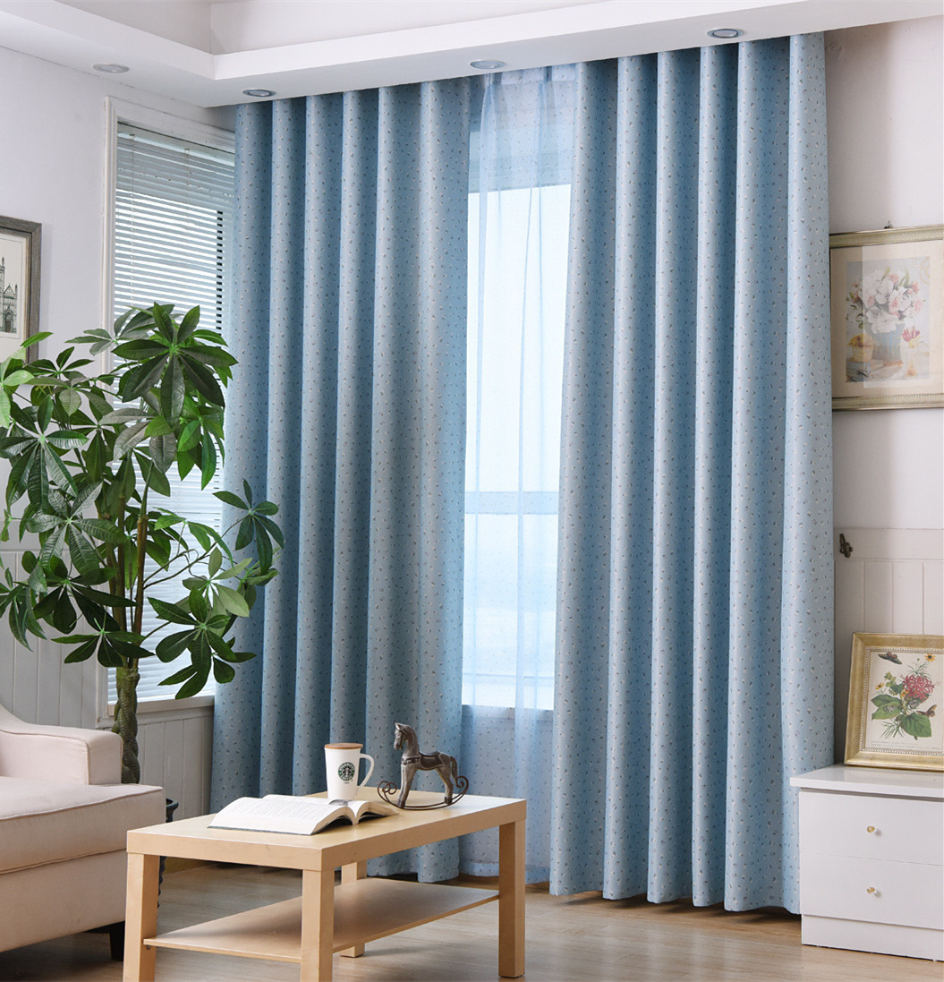 Rural Style Window Curtain Little Flowers Cloth Curtain Blue