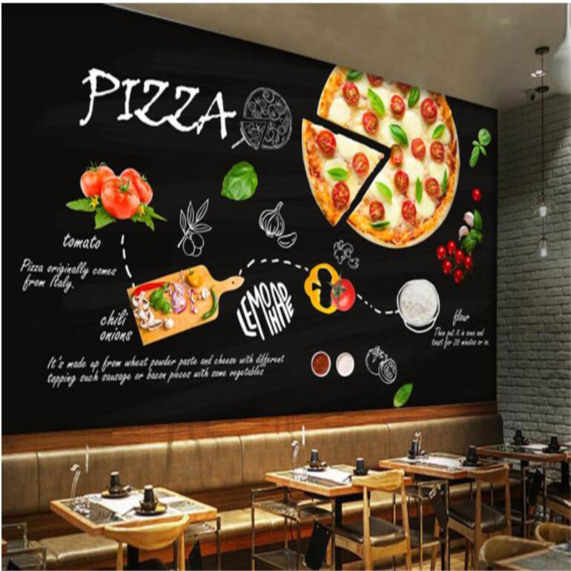 Beibehang personalizado papel de parede mural preto pintados à mão italiana pizza loja restaurante ocidental fundo da foto