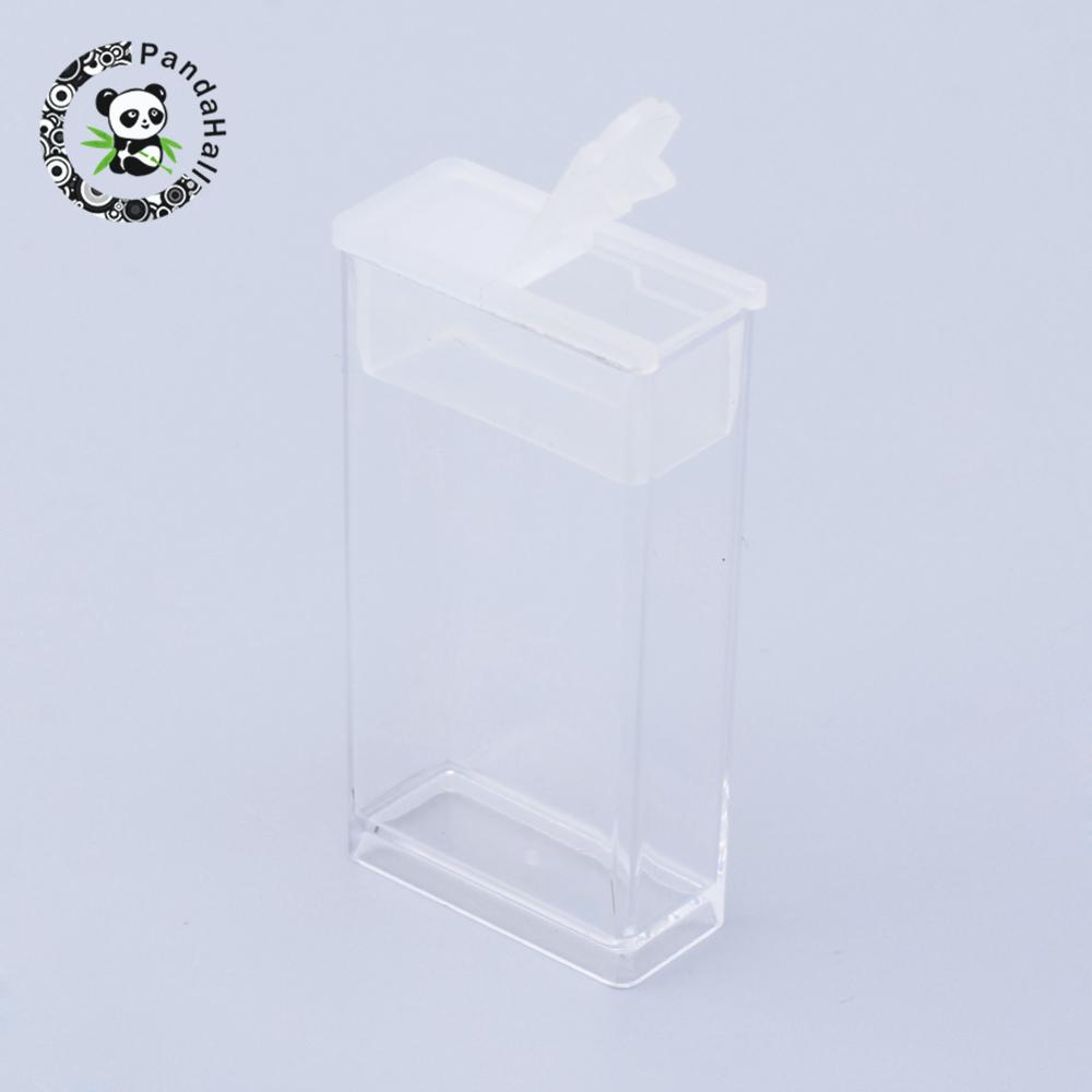 6pcs Rectangle Clear Plastic Bead Storage Containers For Jewelry Packaging, 50x27x12mm, Hole: 9x10mm
