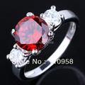 Womens CZ Nal Simulated Three Round Stone Red Garnet Genuine 925 Sterling Silver Ring R038 Size 6 7 8 9