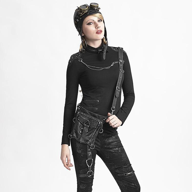 2018 haute qualité plus porté Punk noir Biker taille sacs femmes moto Messenger sacs Rock Cross-Body cuir sacs longues ceintures
