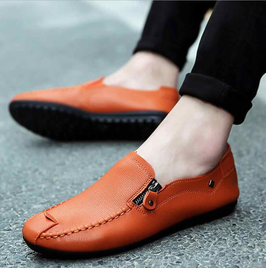 2019 Designer men รองเท้า Casual Mens Loafers Breathable แบนรองเท้าซิปรองเท้าหนังรองเท้าผ้าใบ mocassin homme D62
