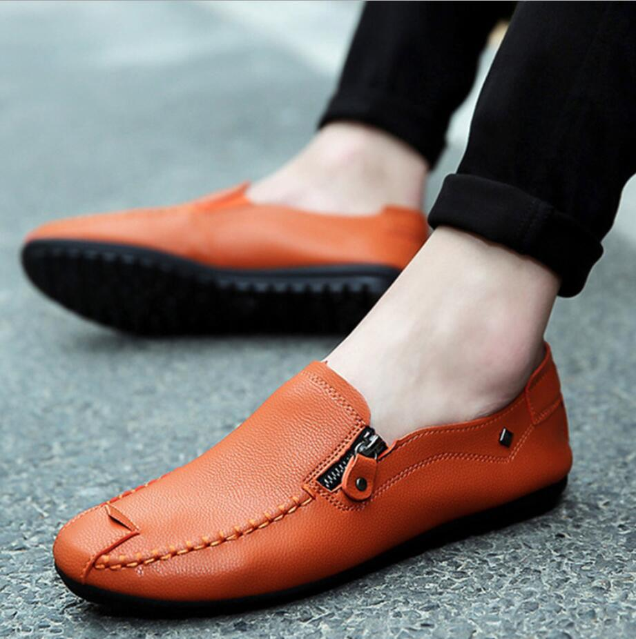 2019 Designer Men Shoes Casual Mens Loafers Moccasins Breathable Flat Shoes Zipper Leather Footwear Sneakers Mocassin Homme D62