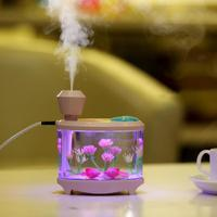 460ml Fish Tank USB Humidifiers LED Light Air Ultrasonic Humidifier Essential Aroma Diffuser Mist Maker For