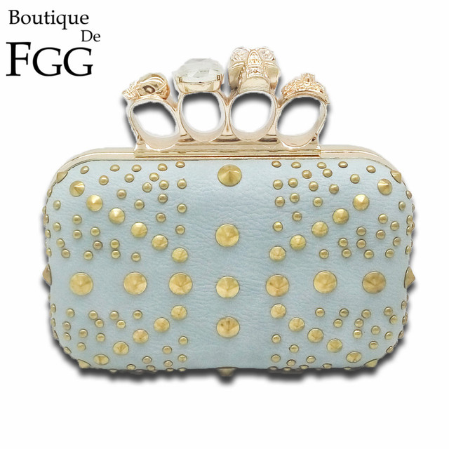 Women Hardcase Metal Evening Bags Crystal Diamond Skull Knuckle Box Rivet Handbags Purse Ladies Mini Party Prom Clutches