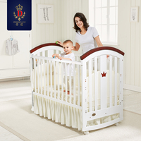 Brand Baby Bed Solid Woode newborn Bebe Bed Cradle Bed with Mattress Multi Function Children's Bed Roller Variable Desk
