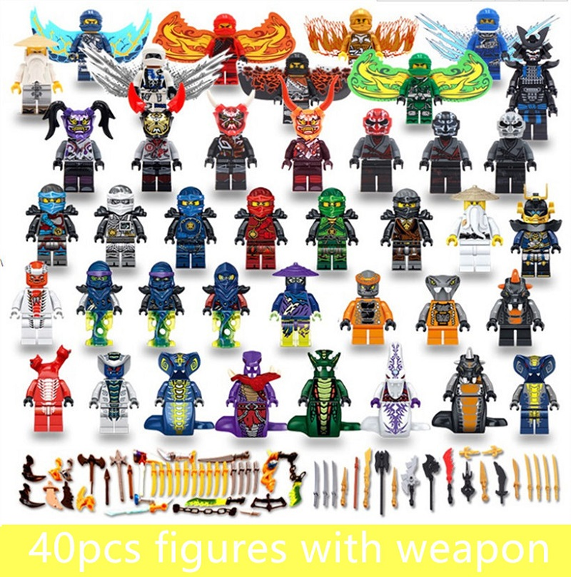 40pcs LegoING Mini Ninjagoed Figures With Wing Weapons Sankes Skales Pythor Garmadon Army Kai Jay Zane Cole Toys For Children
