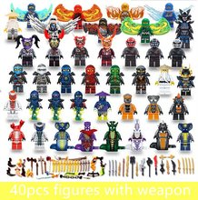 40pcs LegoING Mini Ninjagoed Figures With Wing Weapons Sankes Skales Pythor Garmadon Army Kai Jay Zane Cole Toys For Children(China)