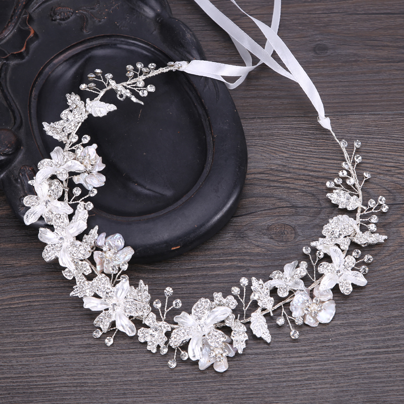 High Quality Wedding Bride Headdress Rhinestone Flower Headband Gols/Silver-Plated Trombone Wedding Hair Accessories Adjustable цена