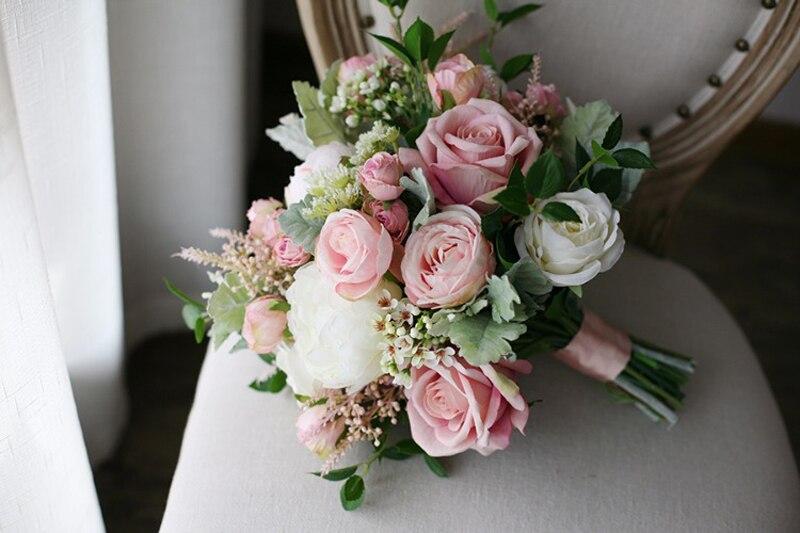 3.11  Classic Smoked Pink Bridal Bouquets 2018 New Elegant Synthetic Holding Flower Bridal  Nation Seashore Wedding ceremony Provides HTB1MKePbib