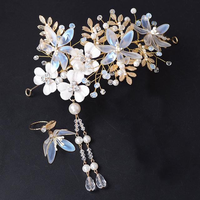 Handmade BOHO joyería nupcial tiara con juego de anillos de boda de las mujeres sparkling rhinestone corona nupcial de la joyería nuevos accesorios para el cabello