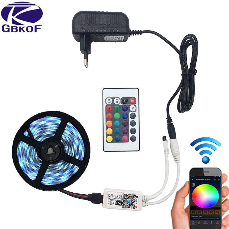 5 m 5050 RGB WIFI LED tira de luz impermeable RGB 10 m 15 M cinta de cinta led remoto WIFI inalámbrico controlador 12 V adaptador de corriente Kit